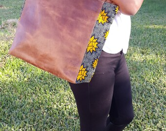 100% Ethiopian Leather Tote with Ghanaian Cloth