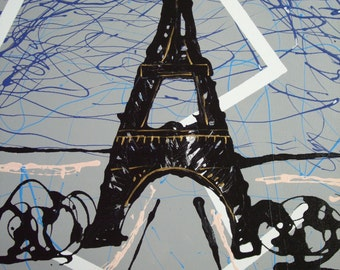 Abstract Eiffel Tower in Paris France