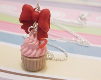 Food Miniature Strawberry Cupcake Necklace ( food necklace food jewelry polymer clay kawaii jewelry mini food red bow necklace )
