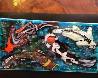 Homemade Original Fused Glass Painting of Four Koi