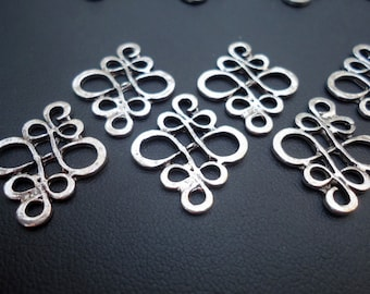 Silver Celtic Knot Links / Chandelier Components - Set of 20