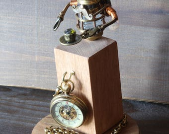 Little Steampunk Minion Robot Sculpture with Fez, Mustache and teacup in glass display dome with mechanical pocket watch