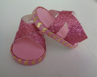 "pink sparkle 18"" Doll Sandals-Shown on my american girl doll"