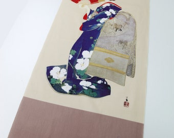 Geisha fabric, Japanese Tenugui cotton fabric, girl kimono fabric, kawaii fabric, wall decoration, quilt fabric, japanese curtain fabric