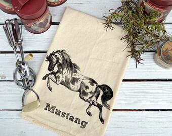 Mustang Flour Sack Towel, Flour Sack Dish Towel, Flour Sack Kitchen Towels, Tea Towels, Kitchen Towel, Dish Towels, Horse Lover Gift