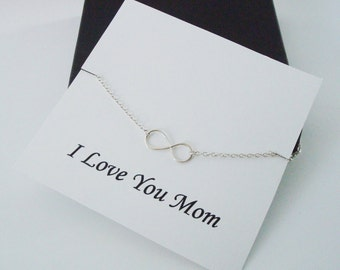 Infinity Sterling Silver Necklace ~~Personalized Jewelry Gift Card for Mom, Mother in Law, Mother of Groom, or Step Mom