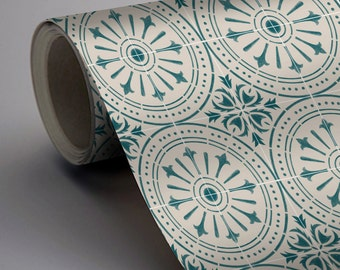 Chiave Wallpaper in Teal  Removable Vinyl Wallpaper - Peel & Stick - No Glue, No Mess