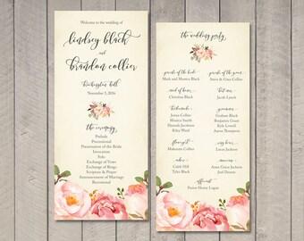 Romantic Floral Wedding Program (Printable) by Vintage Sweet