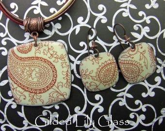Henna Pattern Enamel Necklace, Copper Enamel Jewelry Handmade in North Carolina