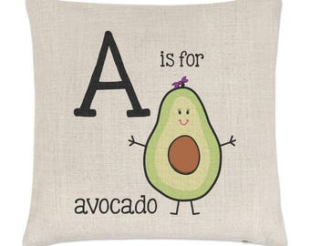 Letter A Is For Avocado Linen Cushion Cover