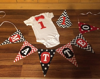 Black White Red Baby Boy Birthday Smash Cake Outfit. Custom Shirt With Hat And Banner Photo Props