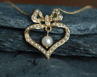 Large Victorian Heart with Bow Pearl Necklace in 14k Yellow Gold - JL901