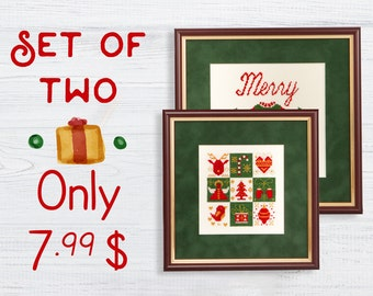 Set of 2 Christmas cross stitch pattern modern Instant download PDF Sampler Sweater Jumper Easy Beginner Nordic Winter Holiday New Year Cute
