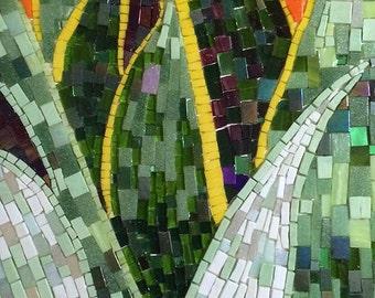 Snake plant mosaic - hanging wall art