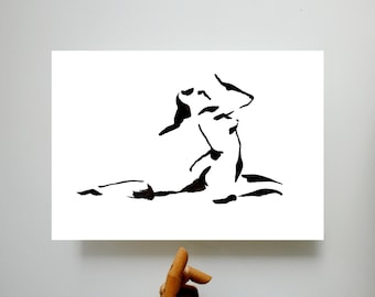 Fine Art Nude Ink Print from the original drawing  - Female nude ink black and white print minimal art modern woman drawing glicee