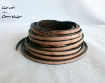 Leather strap flat leather 5 mm Brown Vintage faded