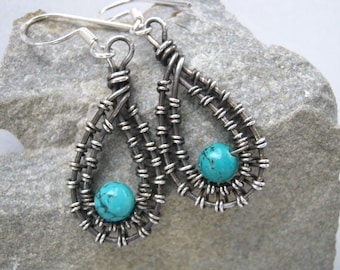 Sterling turquoise earrings, wire wrapped turquoise earrings, turquoise drop earrings, silver turquoise earrings, turquoise teardrop dangles