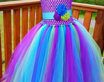 Peacock Beach Inspired Flower Girl Tutu Dress in Purple Royal Blue and Lime Green