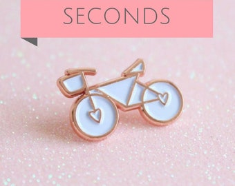 SECONDS Rose Gold and White Enamel Bicycle Pin, lapel pin, Bicycle Enamel Pin, Bicycle Brooch, Christmas Gift For Cyclists