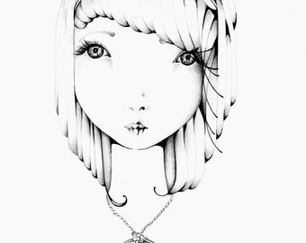 Black and White Original Pen and Ink Illustration One of a Kind Hand Drawn Minimalist Fine Art Drawing of a Girl Black and White Minimalist