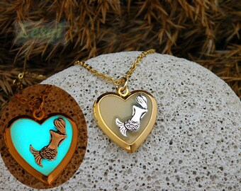 Glow heart shape locket necklace,gold heart locket necklace with silver mermaid charm,glow mermaid locket necklace,glow in the dark