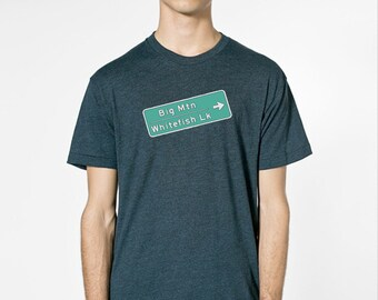 Big Mountain Whitefish Lake sign by Chill Clothing Co printed on American Apparel 50/50 in black aqua