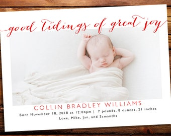 Good Tidings of Great Joy - Holiday Photo Card Birth Announcement - Christmas Birth Announcement - Religious Baby Christmas Card