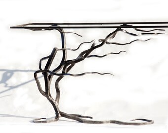 Customized Console Table, Glass and Metal Forged Console Table