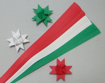 Red White Green Paper Strips for making Moravian German Froebel Stars - various sizes (100 strips per pack)