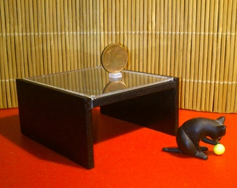 Modern miniature dollhouse black coffee table in 1/12 scale