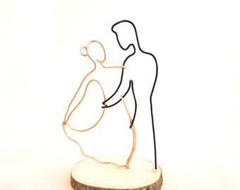 Wire sculpture of couple's first dance, ballroom dancing, cake topper