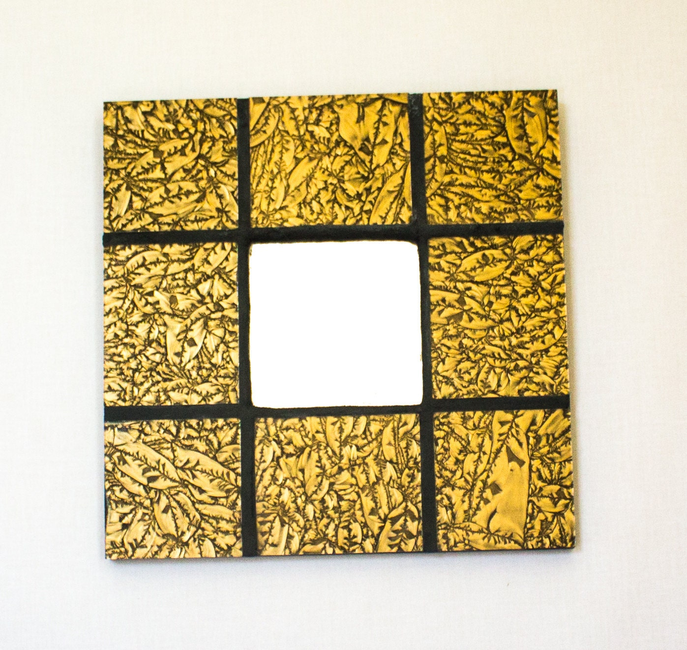 Gold Wall Mirror Stained Glass Mosaic Art Gold Home Decor