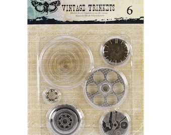 Prima Finnabair MECHANICALS VINTAGE TRINKETS Washers #2 - 6 Pieces #960353