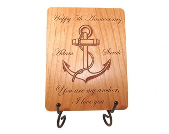 Anchor Anniversary Card - 5 Year Anniversary Wood Card - Personalized Engraving