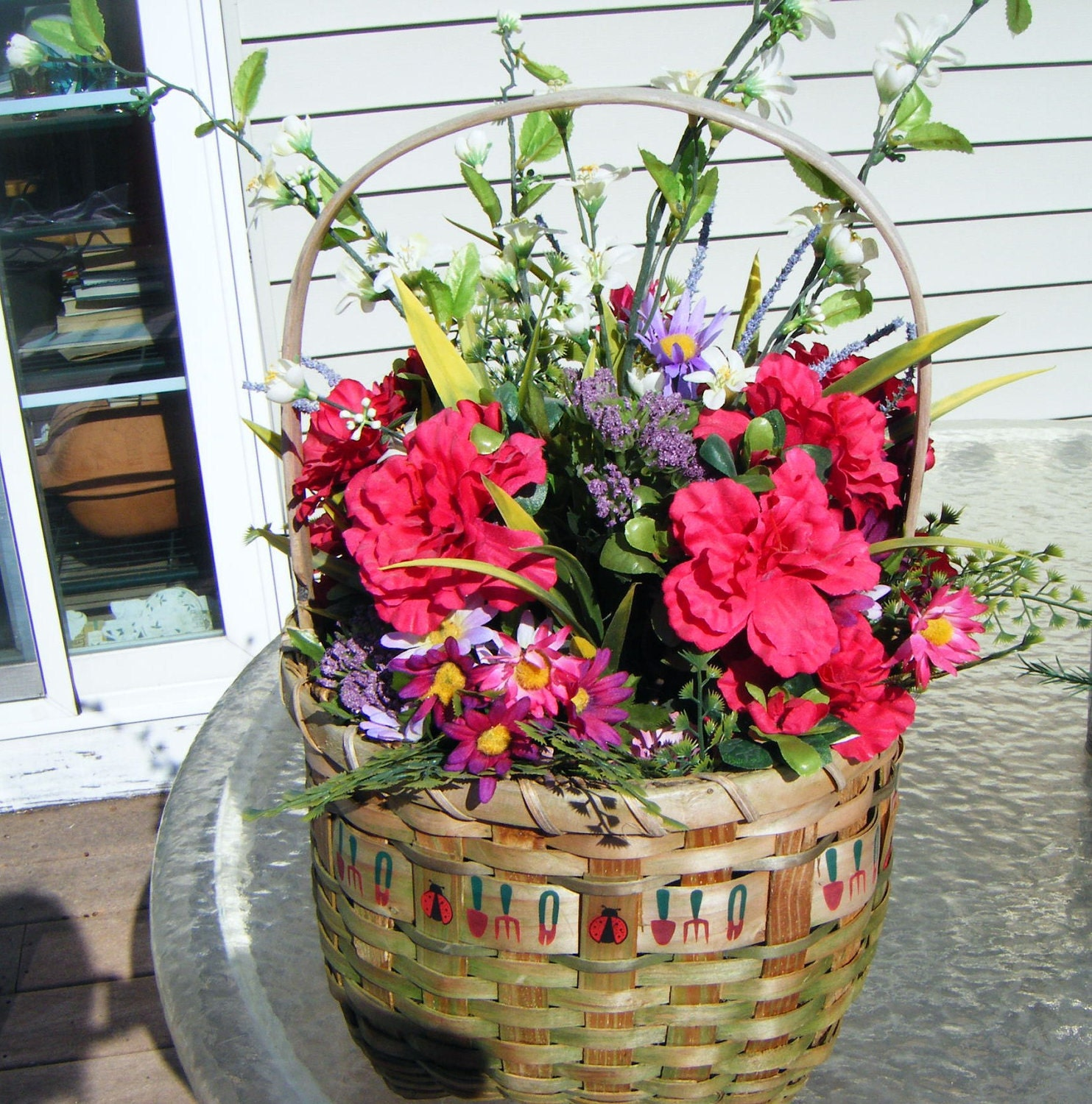Basket Full Of Spring Flowers And Greenery That Will Last