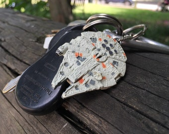 Vintage Star Wars - Han Solo and Chewbacca's Millennium Falcon Micro Machine Key Chain