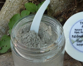 SAMPLE BAG Patchouli Lavender Clay Face Mask for All Skin Types, Acne, Blotchy or Uneven &  Sagging Skin, Sample