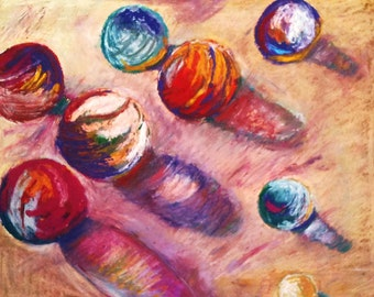 Marbles oil pastel drawing glass globes game shadows reflection red blue 11 in x 14 in