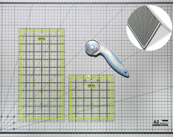 """Cutting Mat + Quilting Ruler + Rotary Cutter Set / A2 Fold-able Self Healing Non Slip Board / Transparent Acrylic Inch Template 12x6"""" & 6x6"""""""
