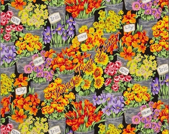 "Andover ""Fresh Market Flowers"" #7131M Cotton Fabric Priced Per 1/2 Yard"