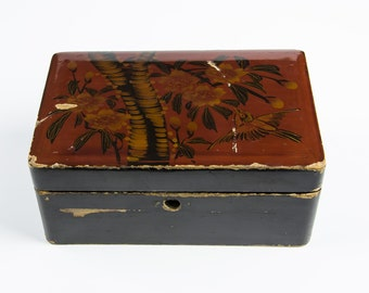 Gorgeous Antique 19th Century Japanese Red & Black Lacquer Box, with Gold and Black Decoration