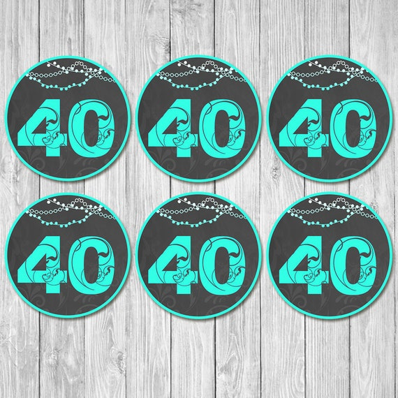 40th Birthday Cupcake Toppers Chalkboard Teal - 40th Birthday Party Toppers - 40th Birthday Party Ideas - 40th Birthday Centerpiece