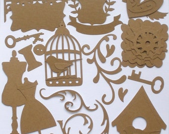 ViNTAGE FiNDiNGS- Alterable Kit -  Raw CHiPBOARD Bare Die Cuts  - Glitter Dust Design Special - Lot of 24 Shapes