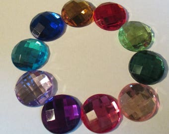 Set of 10 cabochons faceted 18 mm acrylic