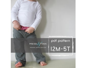 Cómodos pantalones de Yoga patrón y tutorial PDF chico chica fácil coser 12m-5T