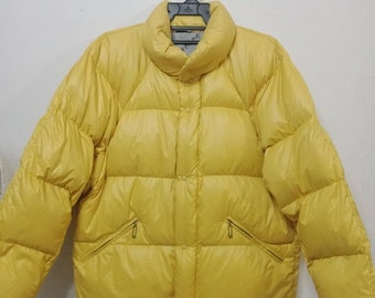MONCLER PUFFER GOOSE Down Jacket Yellow Colour Ski Warm Winter Made in France Grenoble Hard To Find!