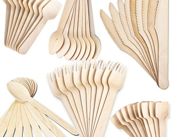Disposable Wooden Cutlery Eco Friendly Biodegradable Tea Spoons and Spades (packs of 100 pieces)