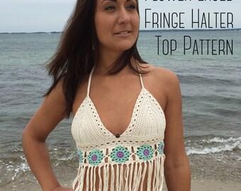 Summer Festival Flower Laced Fringe Crochet Bikini Top Pattern- Halter Top - Written Downloadable Pattern - PDF File
