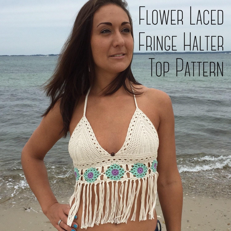 Summer Festival Flower Laced Fringe Crochet Bikini Top Pattern ...