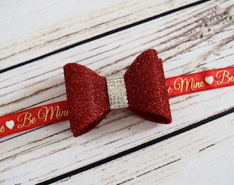 Handcrafted Glitter Red Valentines 3D Bow Headband - Valentines Day Baby - Be Mine Toddler Headband - Fancy Infant Headpiece - Red Glitter